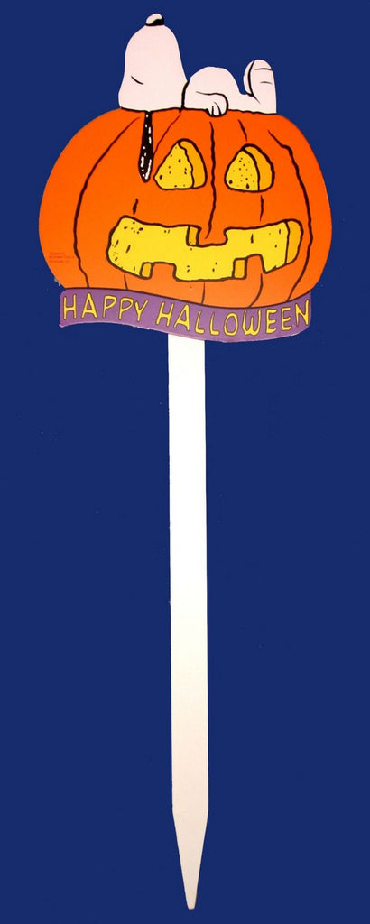 Snoopy Halloween Wood Yard Sign - Jack-O-Lantern