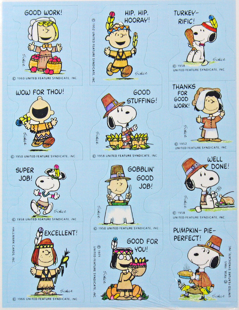 Peanuts Gang Thanksgiving Rewards Stickers