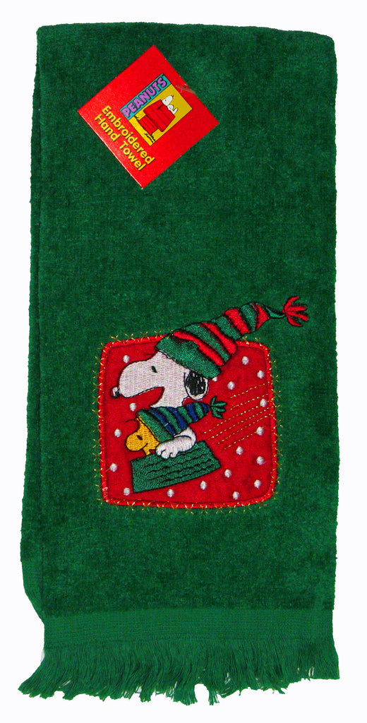 Snoopy Sledding Embroidered Holiday Hand Towel