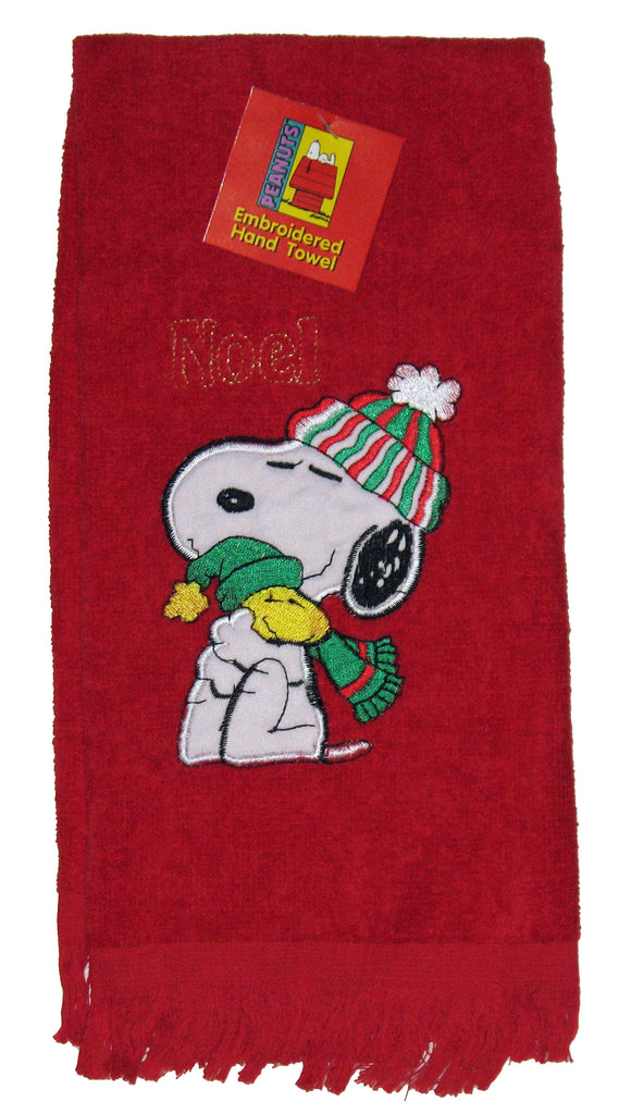 Snoopy Santa Embroidered Hand Towel - Noel