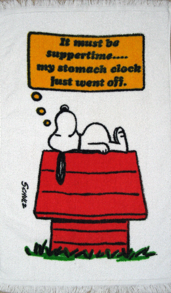 "Vintage Snoopy Hand Towel - ""It must be suppertime..."""