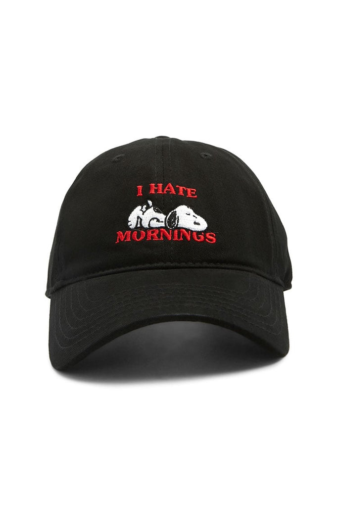 Snoopy Embroidered Ball Cap - I Hate Mornings