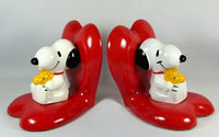 Snoopy and Woodstock Hearts Bookends