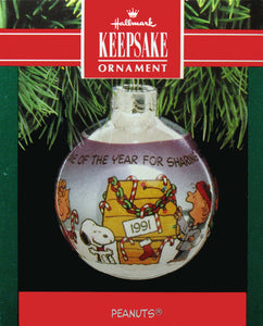 1991 Peanuts Glass Ball Christmas Ornament - Sharing Good Cheer
