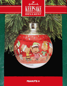 1990 Peanuts Glass Ball Christmas Ornament - The Happiest Time