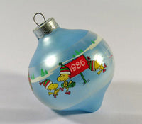 1986 Peanuts Teardrop-Shape Glass Christmas Ornament - Figure Skating