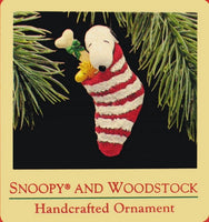 1988 Snoopy and Woodstock In Stocking Christmas Ornament