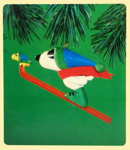 1984 Snoopy Long Jump Skier Christmas Ornament
