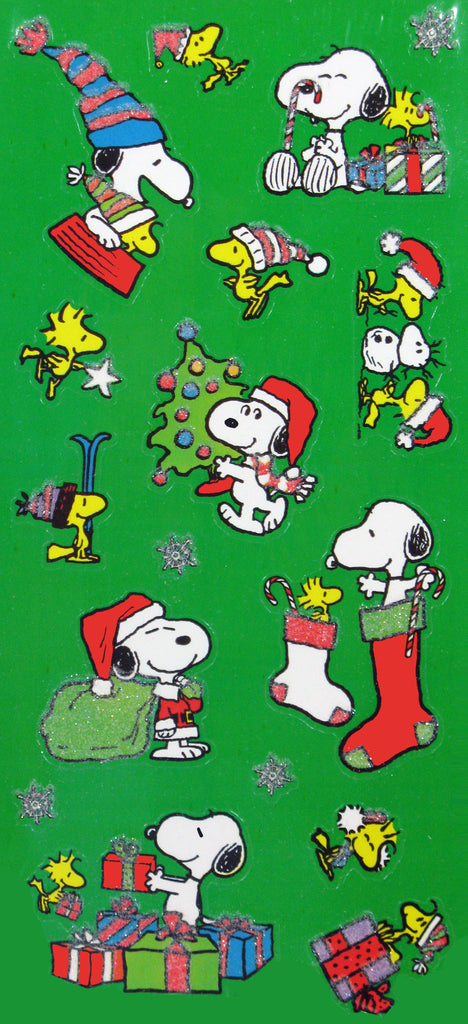 Snoopy Christmas Glitter Stickers