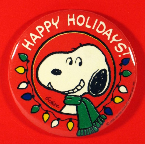 HAPPY HOLIDAYS PINBACK BUTTON - REDUCED PRICE!