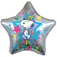 Peanuts Giant Super Shape Balloon - Holographic Star-Shaped Happy Birthday!