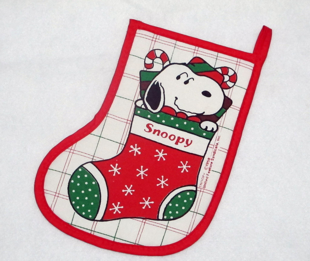 Snoopy Vintage Christmas Stocking-Shaped Hot Pad