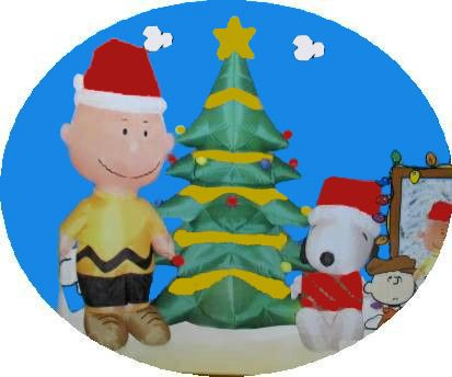Charlie Brown and Snoopy By Christmas Tree Inflatable - 7 Feet Tall!