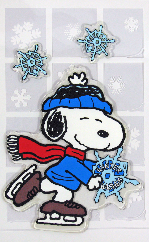 3-Piece Peanuts Christmas Jelz Window Clings - Snoopy Skater