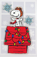 3-Piece Peanuts Christmas Jelz Window Clings - Flying Ace