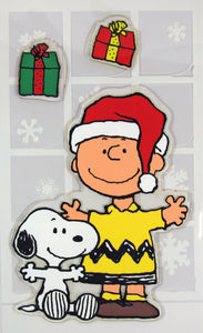 3-Piece Peanuts Christmas Jelz Window Clings - Charlie Brown and Snoopy