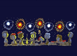 4th of July Peanuts Gang T-Shirt - Fireworks Glow