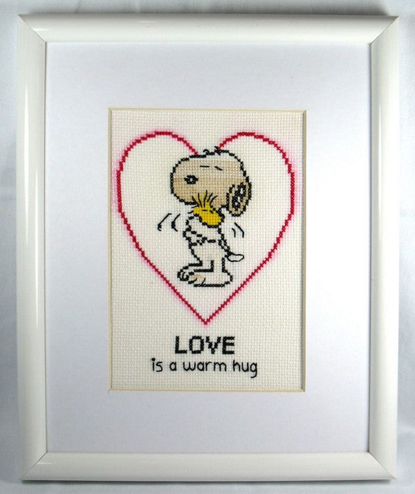 Snoopy and Woodstock Framed Cross Stitch Picture - LOVE Is A Warm Hug