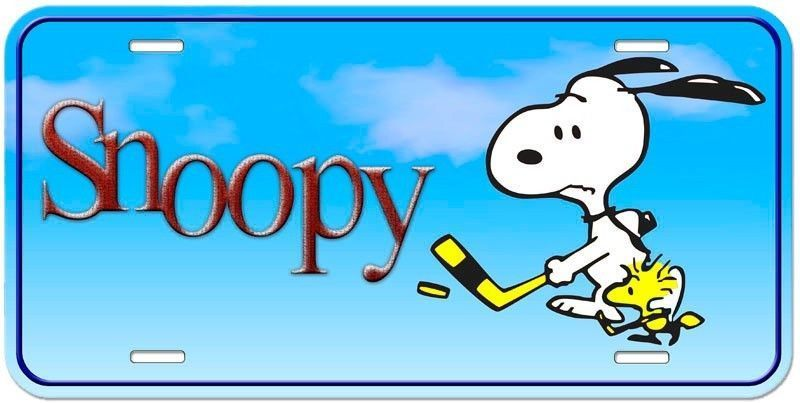 Snoopy Aluminum License Plate - Hockey