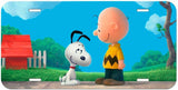 Charlie Brown and Snoopy Aluminum License Plate