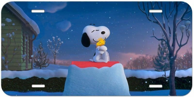 Snoopy Aluminum License Plate - Winter Hugs