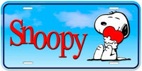 Snoopy Aluminum License Plate - Love