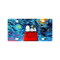 Snoopy Van Gogh Starry Night Metal License Plate