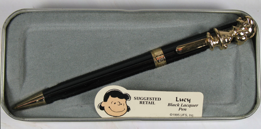 Lucy Brass and Gold Plated Pen With Black Overlay