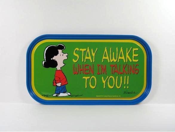 Lucy Magnetic Tin Tray Or Sign - Stay Awake