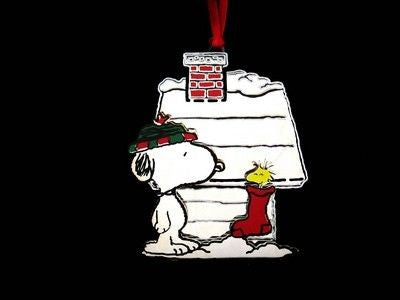 SNOOPY'S DECORATED DOGHOUSE Silver Plated Ornament