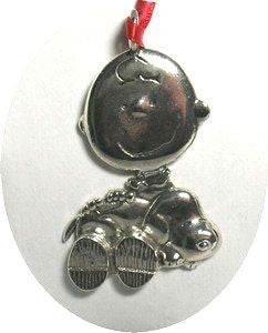 CHARLIE BROWN AND SNOOPY Silver Plated Ornament