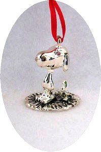 SNOOPY AND WOODSTOCK 3-D FIGURAL Silver Plated Ornament
