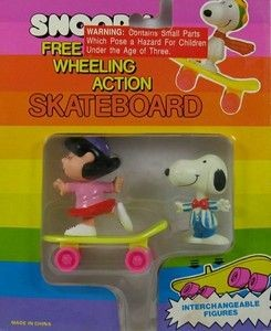 Lucy and Snoopy Skateboarding