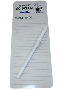 "Met Life ""Go Green"" Magnetic Write-On To Do List"