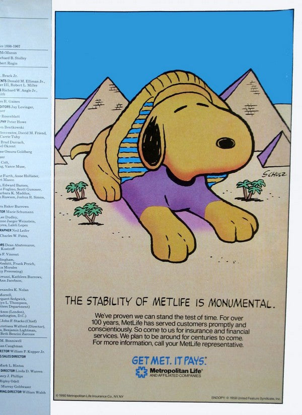 Met Life Advertisement - Snoopy Sphinx (1990)