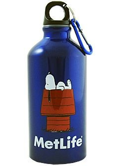 Snoopy Met Life Metal Water Bottle With Carabiner