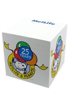 Met Life and Peanuts 25th Anniversary Sticky Notes Cube