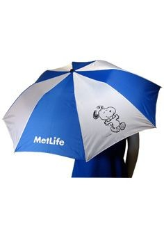 Met Life Snoopy Royal and White Umbrella