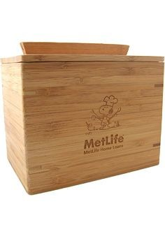 Met Life Wooden Recipe Box