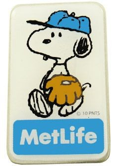 Met Life Magnetic Pin - Snoopy Baseball Player