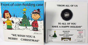 "1987 Peanuts Christmas First-Edition Silver Coin - ""Happy Holiday"""