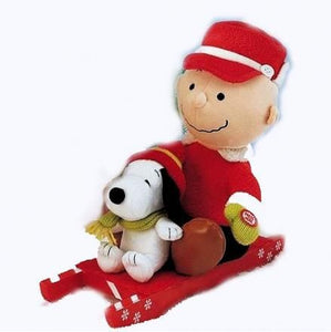 Charlie Brown and Snoopy Sledding Animated and Musical Doll