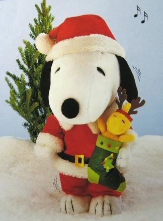 Snoopy Santa Animated and Musical Plush Doll