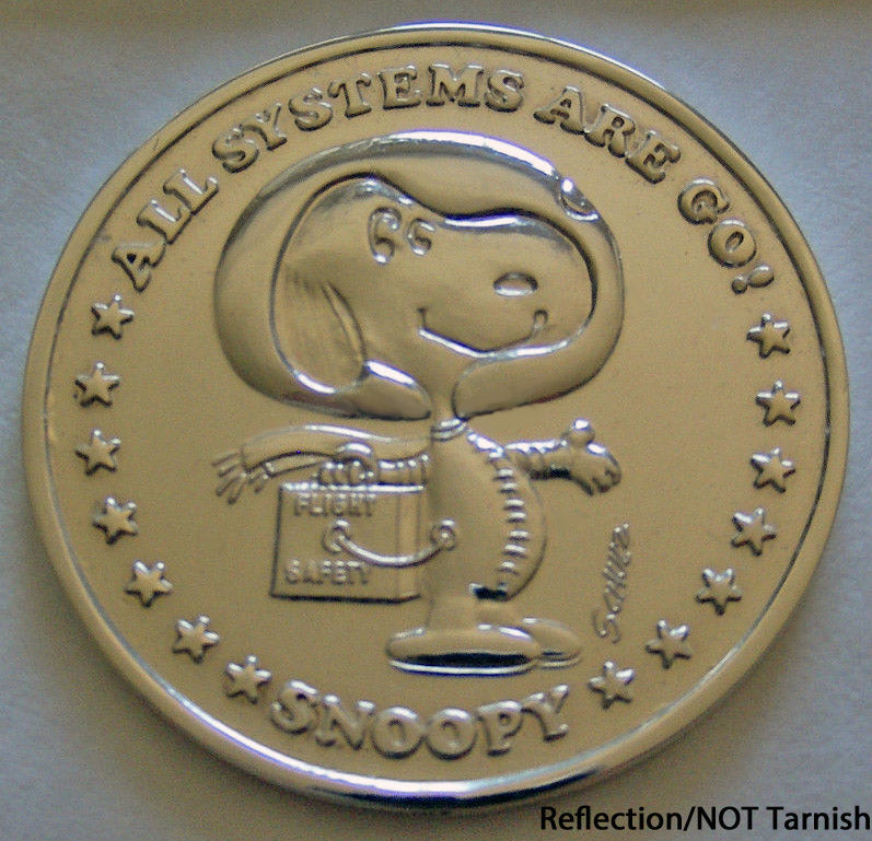 1969 Snoopy NASA Astronaut Silver-Plated Commemorative Coin