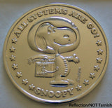 1969 Snoopy NASA Astronaut Silver-Plated Commemorative Coin On Original Card
