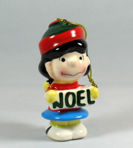 1987 Peanuts Ceramic Christmas Ornament - Lucy NOEL