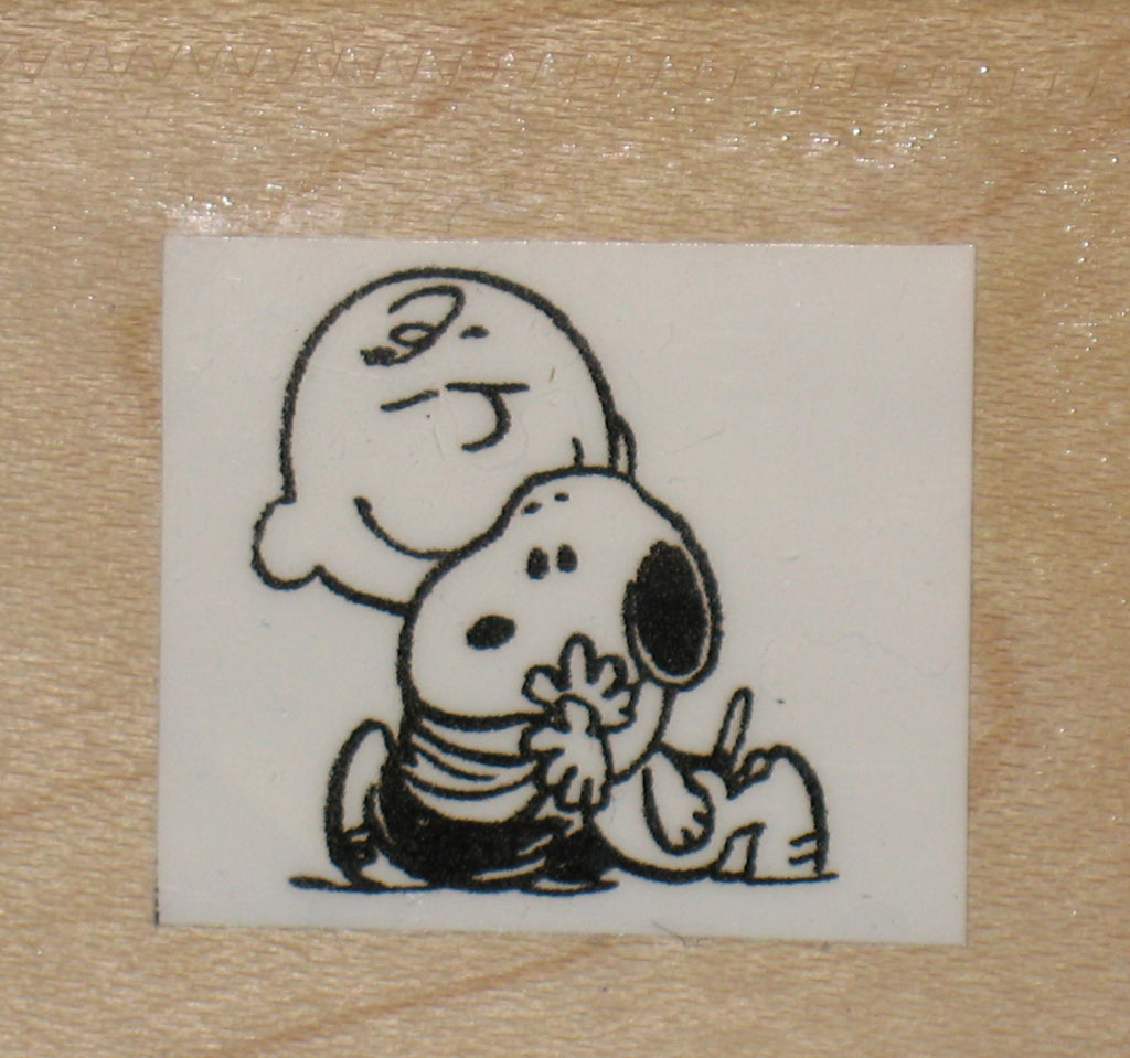 Charlie Brown and Snoopy Hug Rubber Stamp (*Re-Mounted New Stamp)