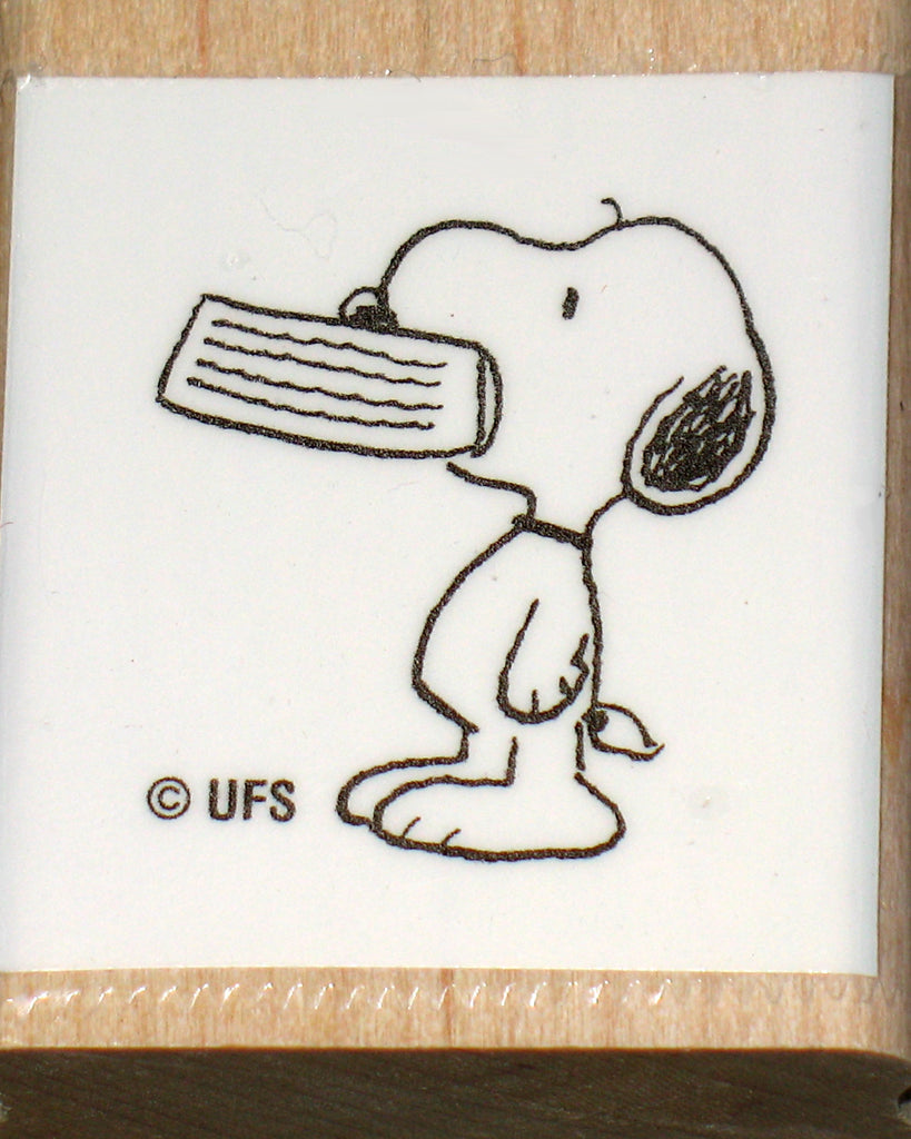 Snoopy Begging Rubber Stamp (*Re-Mounted New Stamp)
