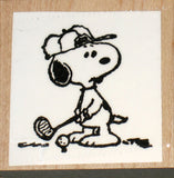 Snoopy Golfer Rubber Stamp (*Re-Mounted New Stamp)