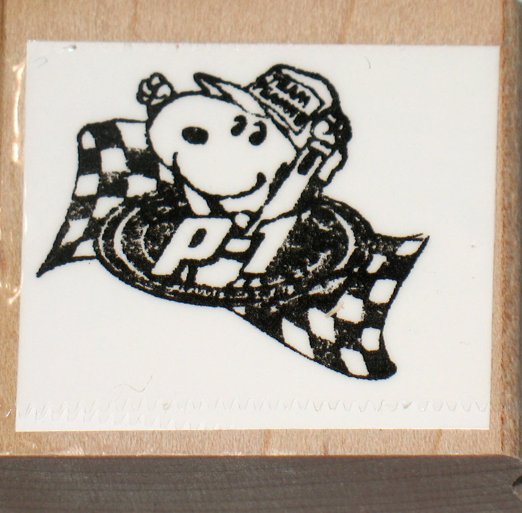 Snoopy Racer Rubber Stamp (*Re-Mounted New Stamp)